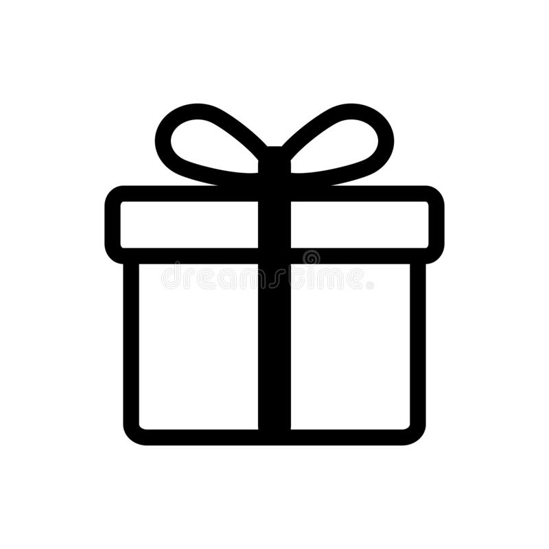Κιβώτιο δώρων Χριστουγέννων με το διανυσματικό εικονίδιο κορδελλών και τόξων για το γραφικό σχέδιο, λογότυπο, ιστοχώρος, κοινωνικ διανυσματική απεικόνιση