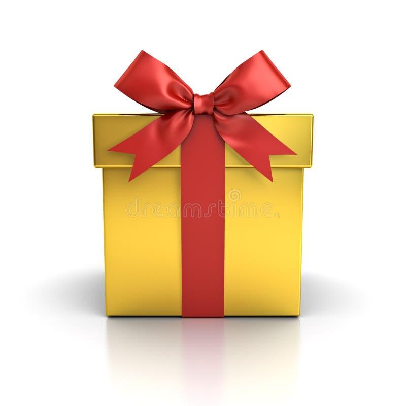 Κιβώτιο δώρων, χρυσό παρόν κιβώτιο με το κόκκινο τόξο κορδελλών που απομονώνεται στο άσπρο υπόβαθρο διανυσματική απεικόνιση