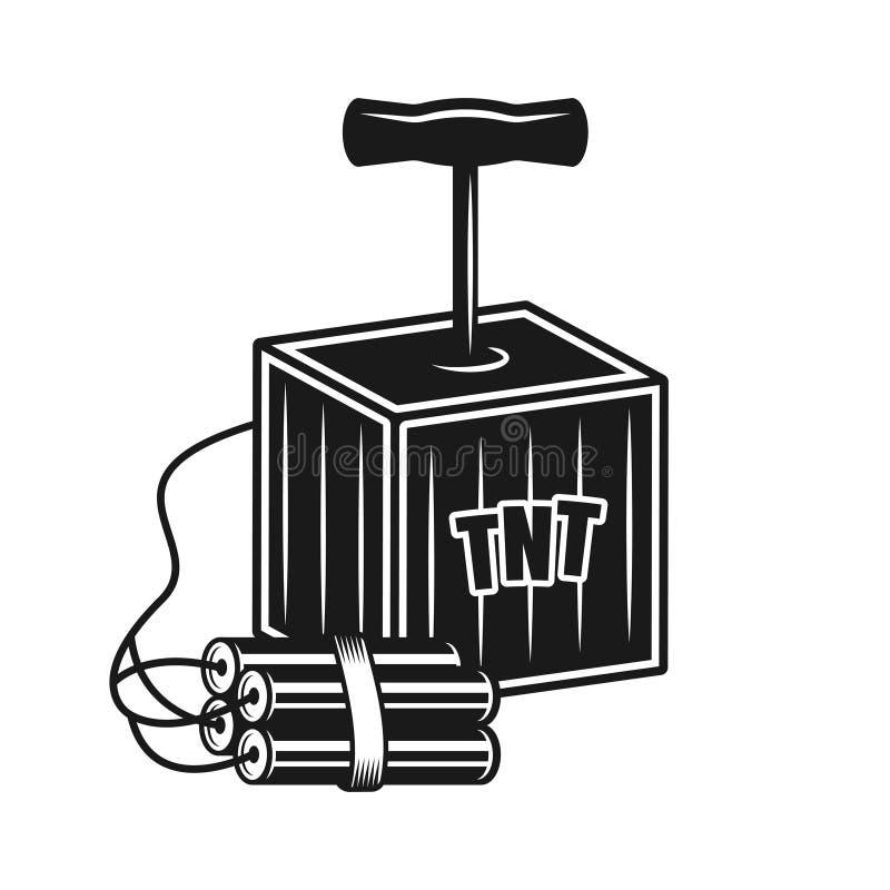 Κιβώτιο εκπυρσοκροτήρων λαβών για το διανυσματικό αντικείμενο δυναμίτη απεικόνιση αποθεμάτων