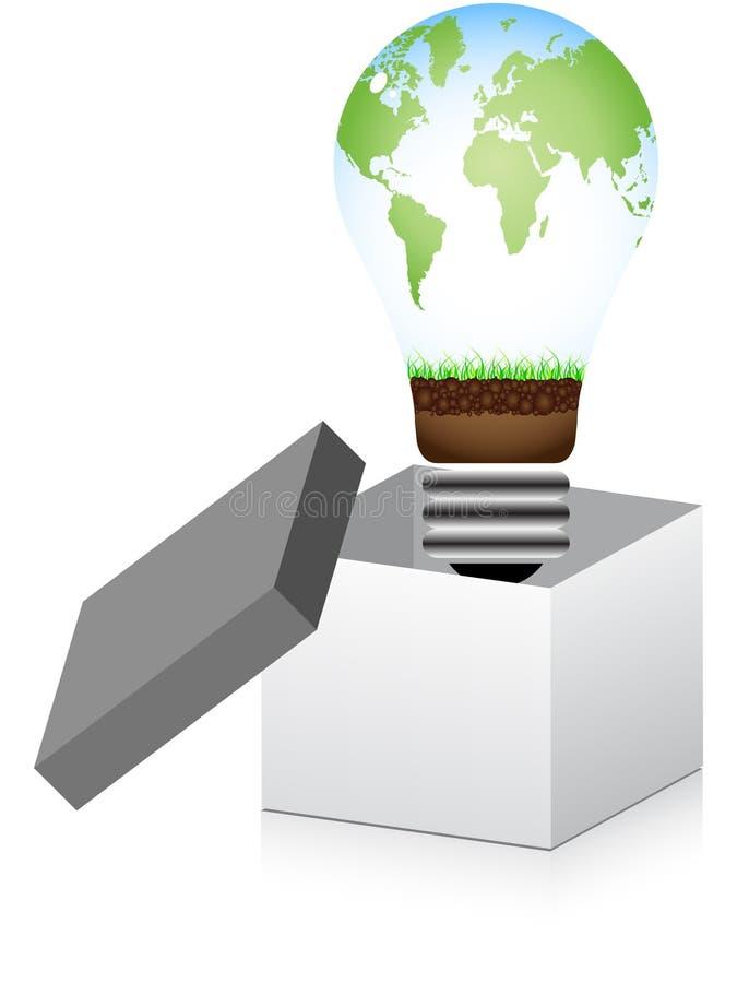 κιβώτιο μέσα στο lightbulb ανοικ&tau διανυσματική απεικόνιση