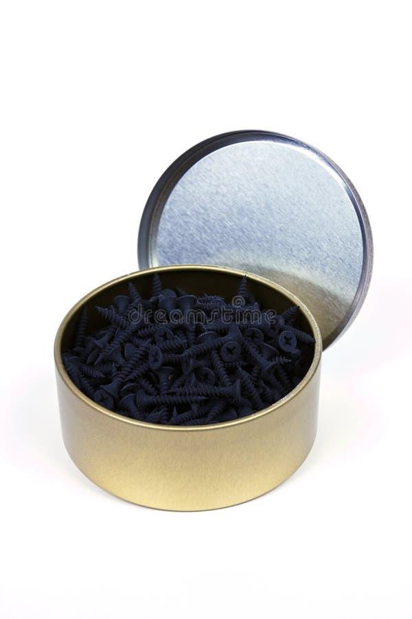 Κιβώτιο μετάλλων με τις βίδες στοκ εικόνες με δικαίωμα ελεύθερης χρήσης