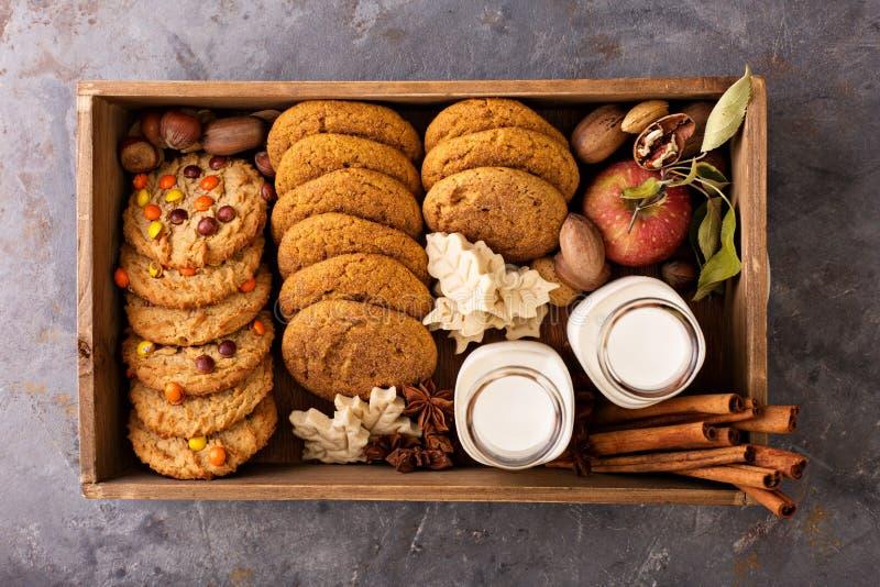 Κιβώτιο με την ποικιλία των μπισκότων πτώσης και των μπουκαλιών γάλακτος στοκ φωτογραφία