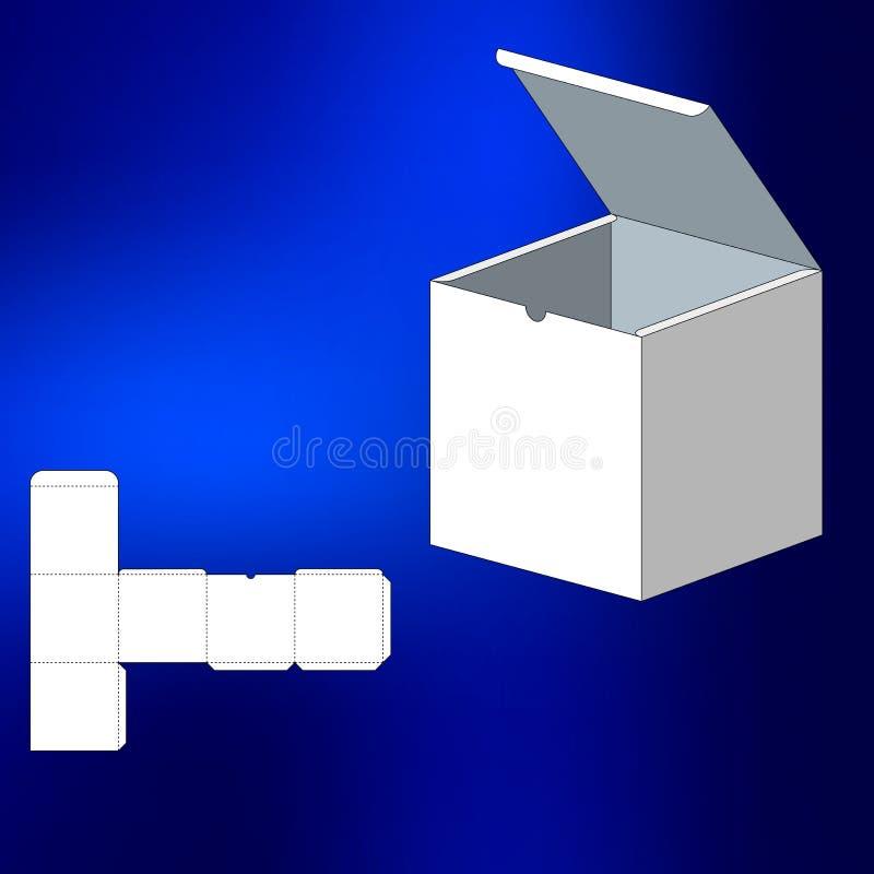 Κιβώτιο με το τεμαχισμένο πρότυπο Κιβώτιο συσκευασίας για τα τρόφιμα, το δώρο ή άλλα προϊόντα Στην άσπρη ανασκόπηση Έτοιμος για τ διανυσματική απεικόνιση