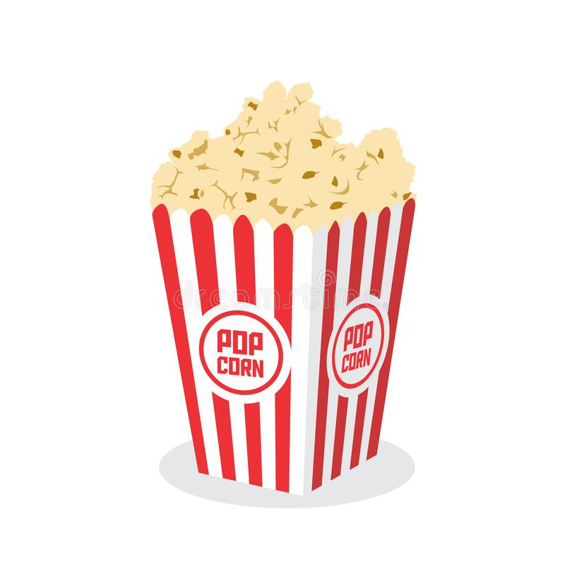 Κιβώτιο με Popcorn που απομονώνεται στην άσπρη διανυσματική απεικόνιση υποβάθρου απεικόνιση αποθεμάτων