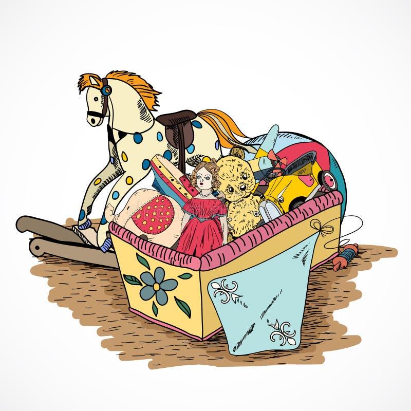 Κιβώτιο σκίτσων παιχνιδιών διανυσματική απεικόνιση