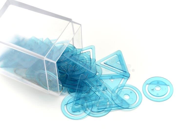 Κιβώτιο των συνδετήρων γεωμετρικών στοκ φωτογραφία