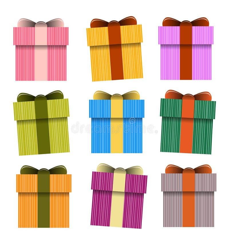 Κιβώτιο δώρων, διανυσματικά παρόντα κιβώτια διανυσματική απεικόνιση