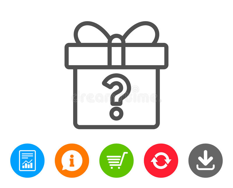 Κιβώτιο δώρων με το εικονίδιο γραμμών ερωτηματικών παρόν ελεύθερη απεικόνιση δικαιώματος