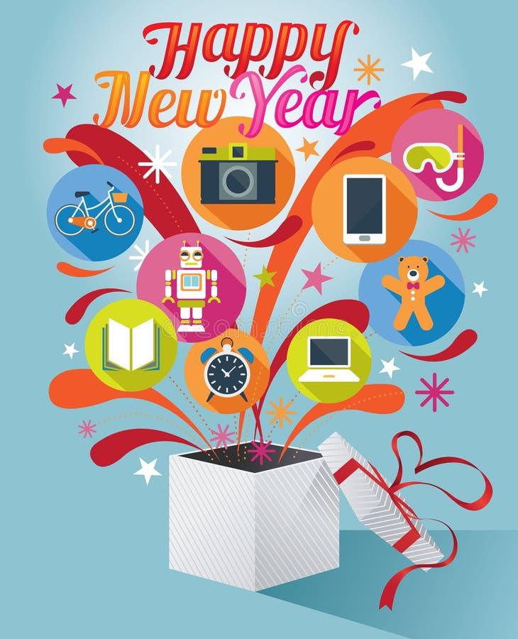 Κιβώτιο δώρων με το κείμενο καλής χρονιάς και τα διάφορα εικονίδια διανυσματική απεικόνιση