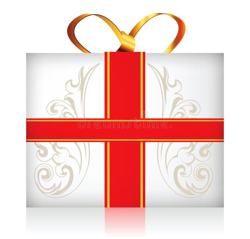 Κιβώτιο δώρων με το χρυσό τόξο κορδελλών ελεύθερη απεικόνιση δικαιώματος