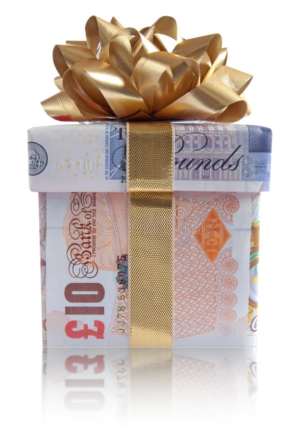 Κιβώτιο δώρων χρημάτων στοκ εικόνα