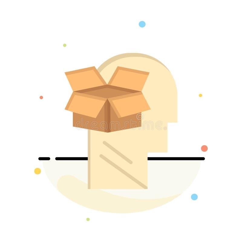 Κιβώτιο, Unbox, στοιχεία, χρήστης, αρσενικό αφηρημένο επίπεδο πρότυπο εικονιδίων χρώματος απεικόνιση αποθεμάτων