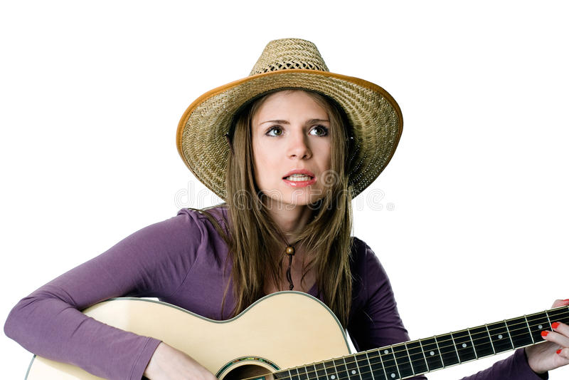 Download κιθάρα κοριτσιών στοκ εικόνα. εικόνα από γοητεία, cowgirl - 17054689