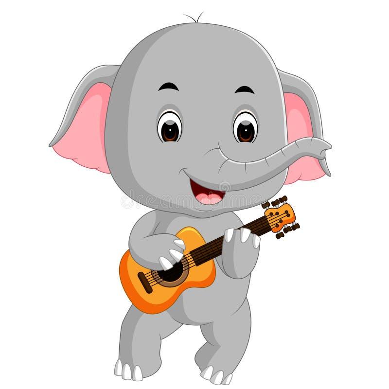 Κιθάρα παιχνιδιού ελεφάντων διανυσματική απεικόνιση