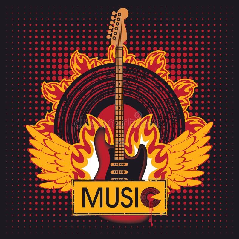 Κιθάρα στην πυρκαγιά απεικόνιση αποθεμάτων