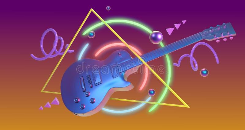 Κιθάρα τέχνης Retrowave διανυσματική απεικόνιση