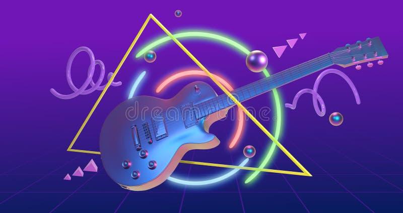 Κιθάρα τέχνης Retrowave απεικόνιση αποθεμάτων