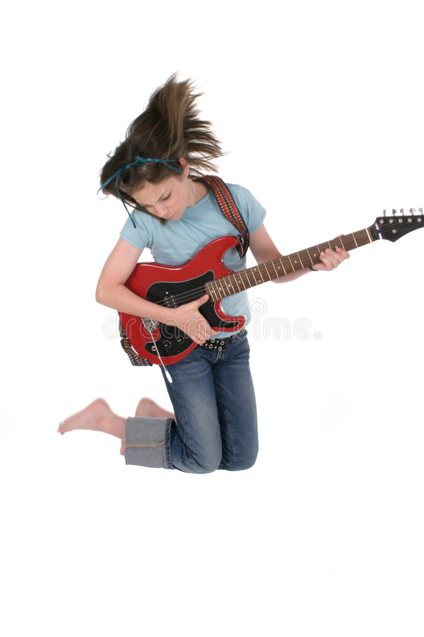 κιθάρα 5 κοριτσιών που παίζ&e στοκ φωτογραφία