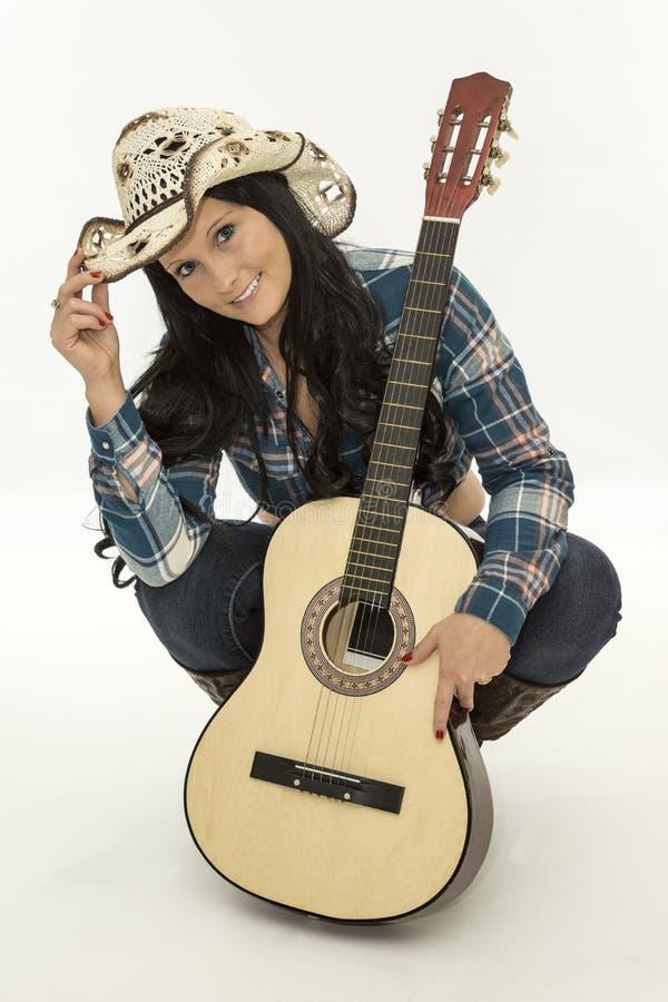 Κιθάρα Cowgirl μουσική, στοκ φωτογραφίες