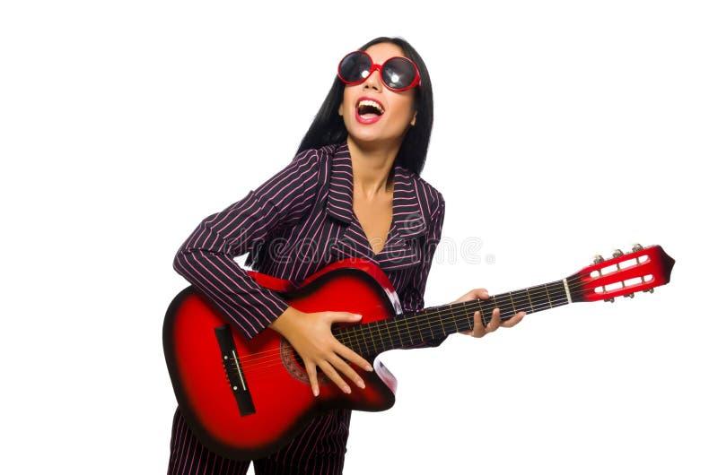 Download Κιθαρίστας γυναικών που απομονώνεται στο λευκό Στοκ Εικόνα - εικόνα από κιθάρα, συναυλία: 62708765