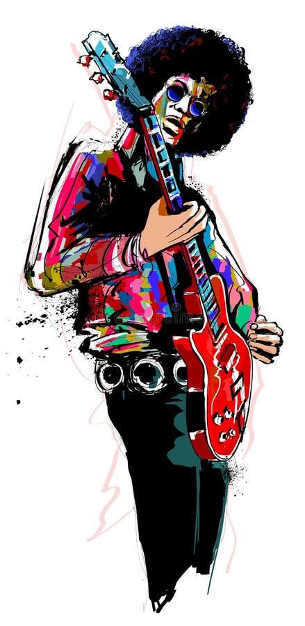 Κιθαρίστας με την κόκκινη ηλεκτρική κιθάρα απεικόνιση αποθεμάτων
