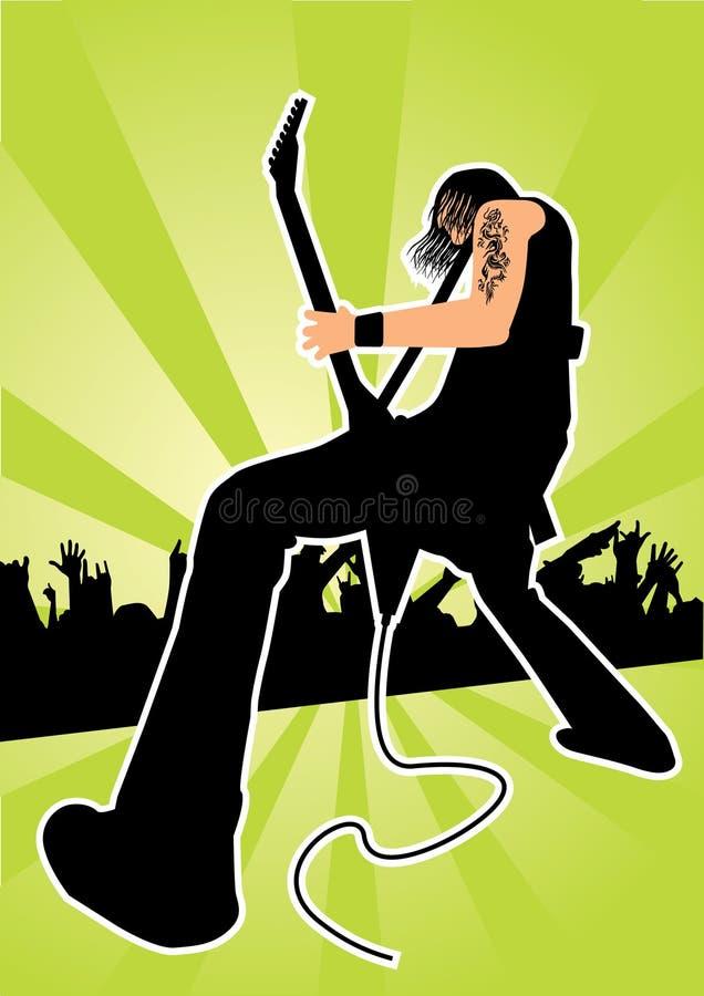 Κιθαρίστας σε μια συναυλία βράχου διανυσματική απεικόνιση