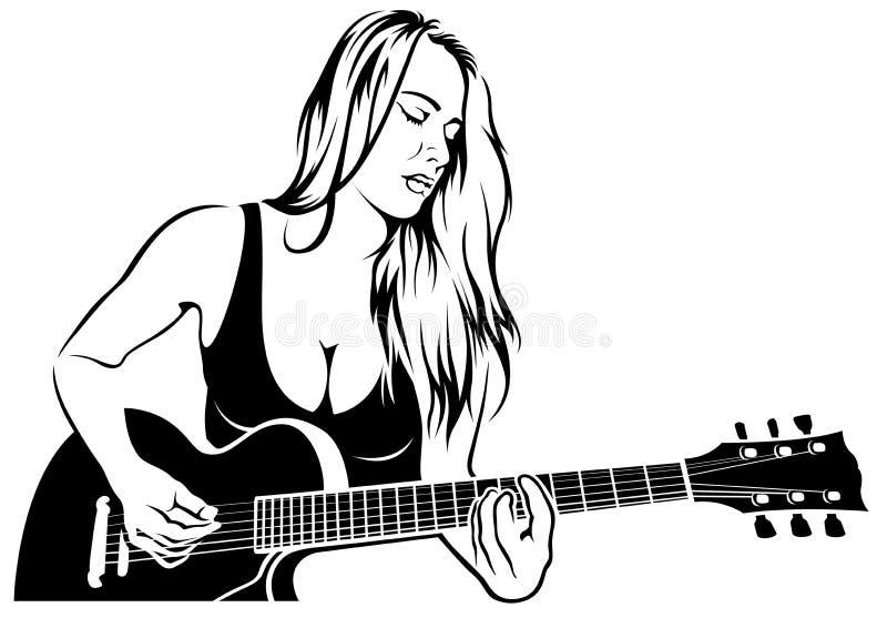 Κιθαρίστας του Girl Rock διανυσματική απεικόνιση