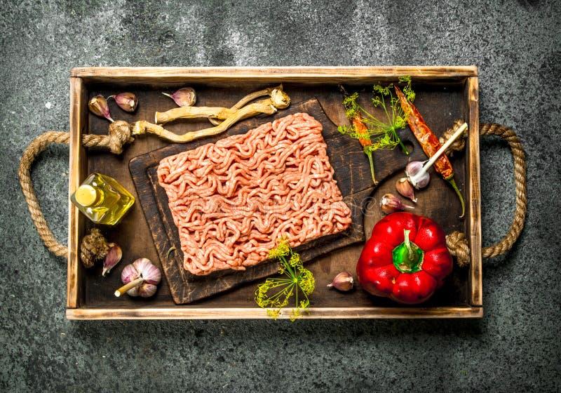 Κιμάς βόειου κρέατος με τα καρυκεύματα και τα χορτάρια σε έναν παλαιό δίσκο στοκ φωτογραφία με δικαίωμα ελεύθερης χρήσης