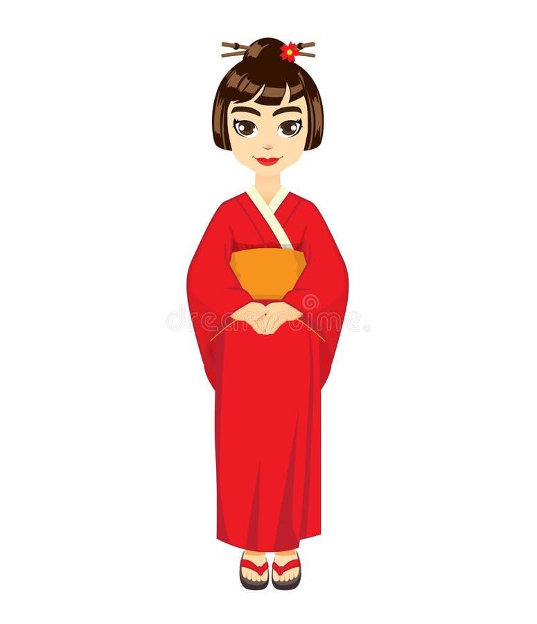 Κιμονό-κορίτσι διανυσματική απεικόνιση