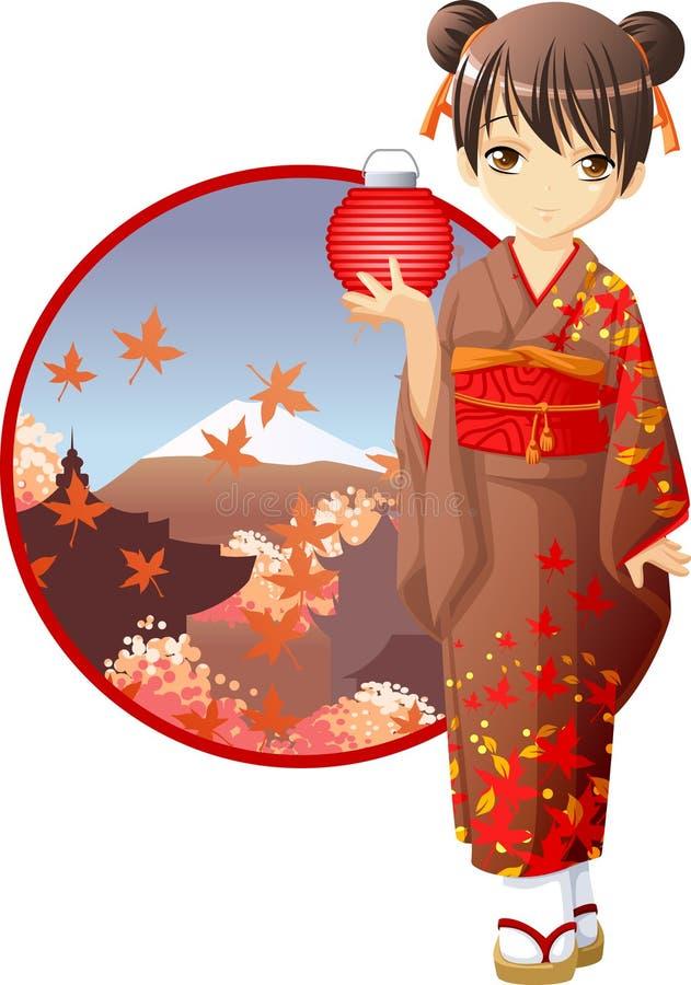 κιμονό κοριτσιών φθινοπώρ&omicr διανυσματική απεικόνιση