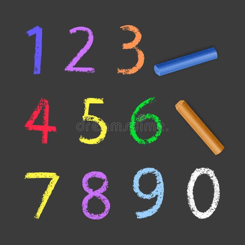 Κιμωλία Αριθμοί από ένα έως μηδέν, υφή κιμωλίας σε σκούρο φόντο, απεικόνιση διανύσματος απεικόνιση αποθεμάτων