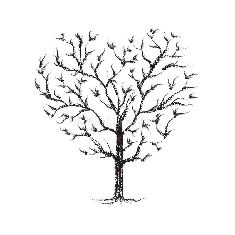 Κιμωλία δέντρων καρδιών που σκιαγραφείται - ο Μαύρος στο λευκό διανυσματική απεικόνιση