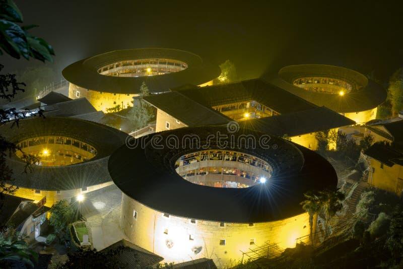 ΚΙΝΑ FUJIAN ΝΑΝΤΖΊΝΓΚ, κτήριο σκηνής νύχτας στοκ φωτογραφίες με δικαίωμα ελεύθερης χρήσης
