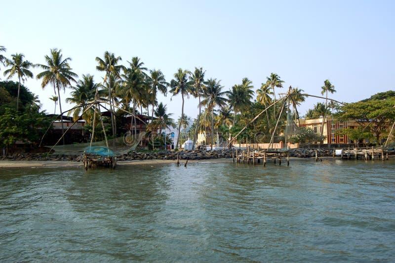 Κινεζικά δίχτυα ψαρέματος, νότια Cochin Ινδία στοκ φωτογραφίες με δικαίωμα ελεύθερης χρήσης
