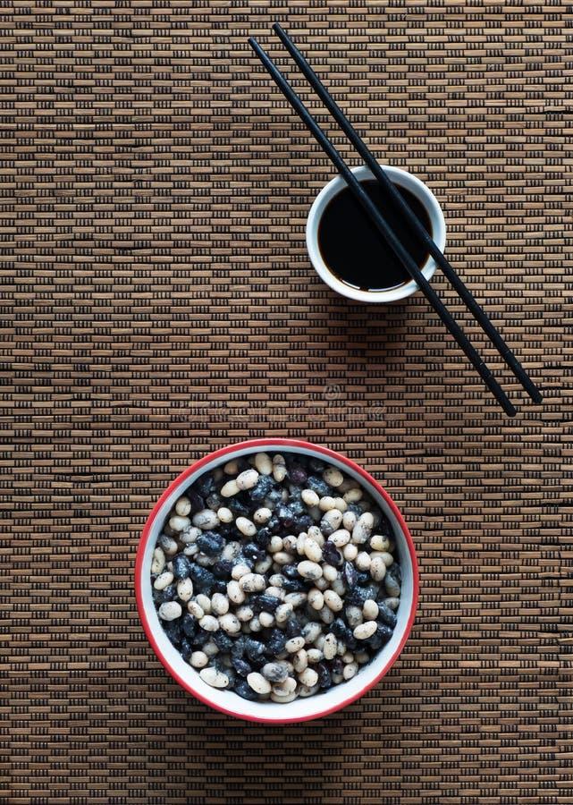 Κινεζικά γραπτά φασόλια Τοπ όψη κλείστε επάνω στοκ εικόνα