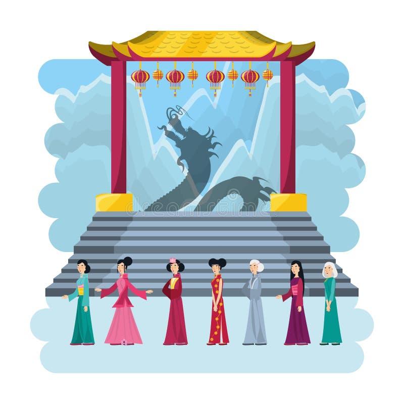 Κινεζικά εικονίδια αρχιτεκτονικής πολιτισμού διανυσματική απεικόνιση