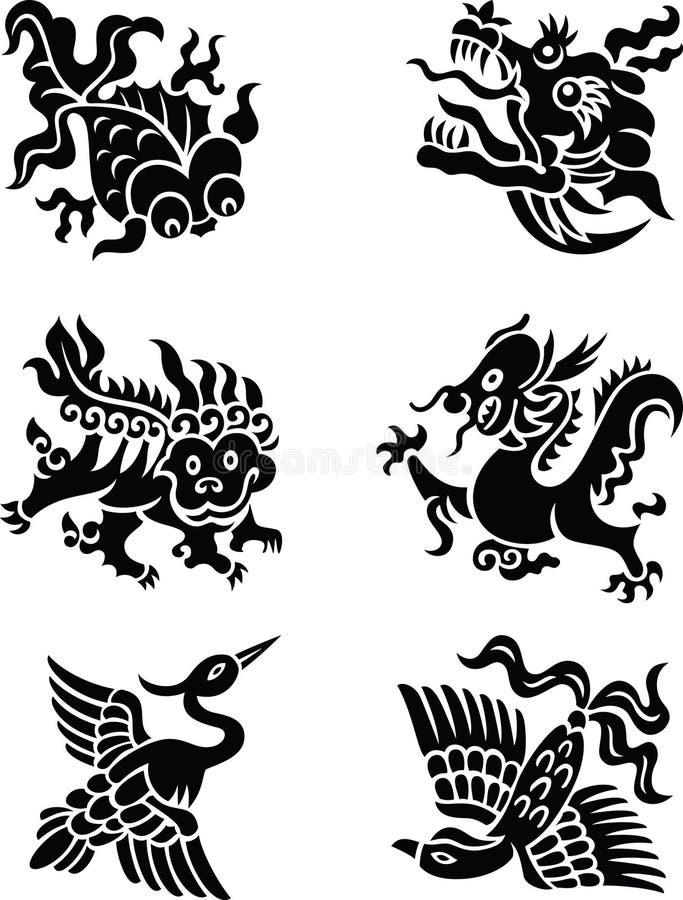 Κινεζικά διακοσμητικά ζώα διανυσματική απεικόνιση