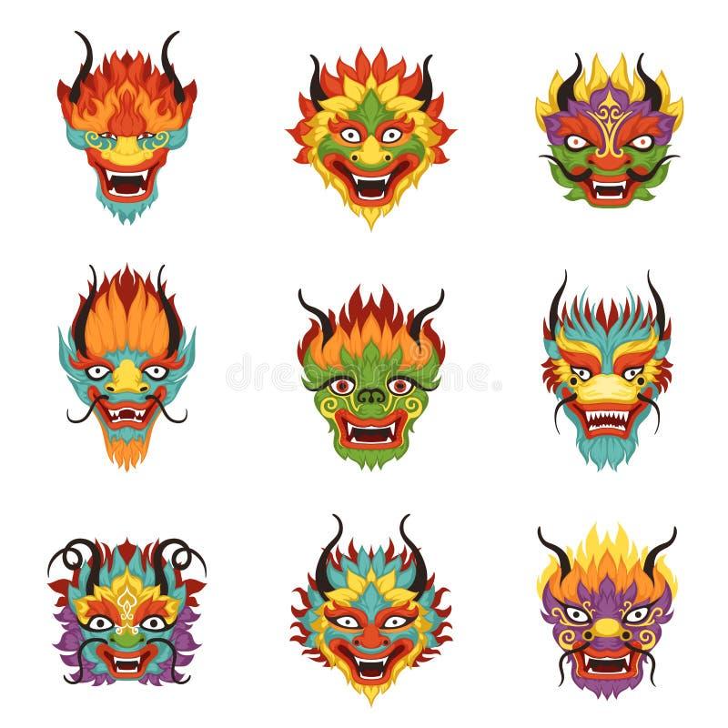 Κινεζικά κεφάλια δράκων καθορισμένα, κινεζικές νέες απεικονίσεις συμβόλων έτους διανυσματικές απεικόνιση αποθεμάτων