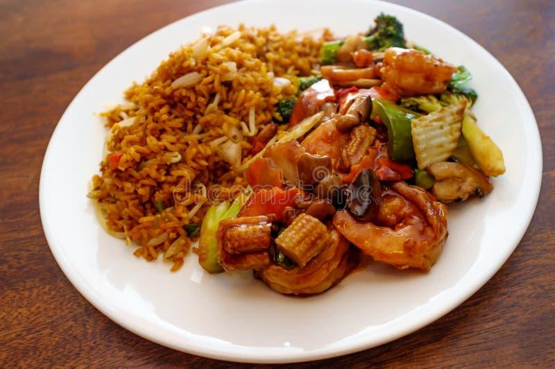 Κινεζικά λαχανικά γαρίδων Szechuan στοκ εικόνα