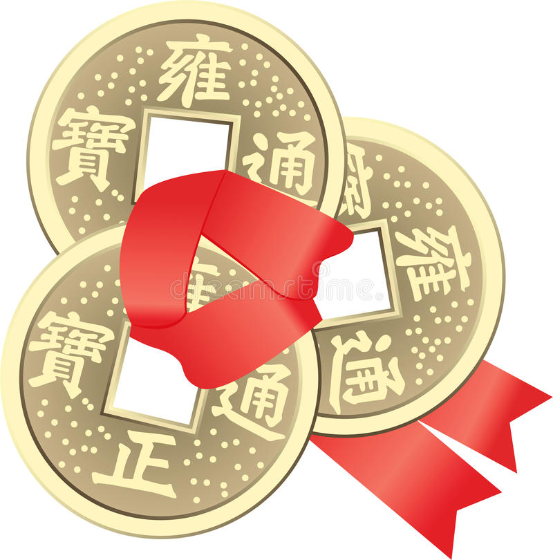 Κινεζικά νομίσματα Feng Shui για τον πλούτο και την επιτυχία διανυσματική απεικόνιση
