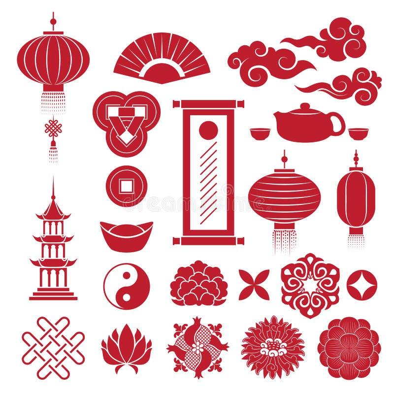 Κινεζικά παραδοσιακά εικονίδια συμβόλων καθορισμένα διανυσματική απεικόνιση