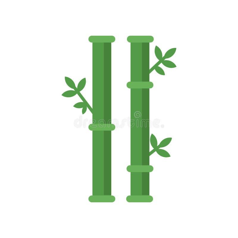 Κινεζικά ραβδιά του δέντρου μπαμπού με τα πράσινα φύλλα απομονωμένο έννοια λευκό φύσης Γραφικό στοιχείο διακοσμήσεων για το λογότ ελεύθερη απεικόνιση δικαιώματος