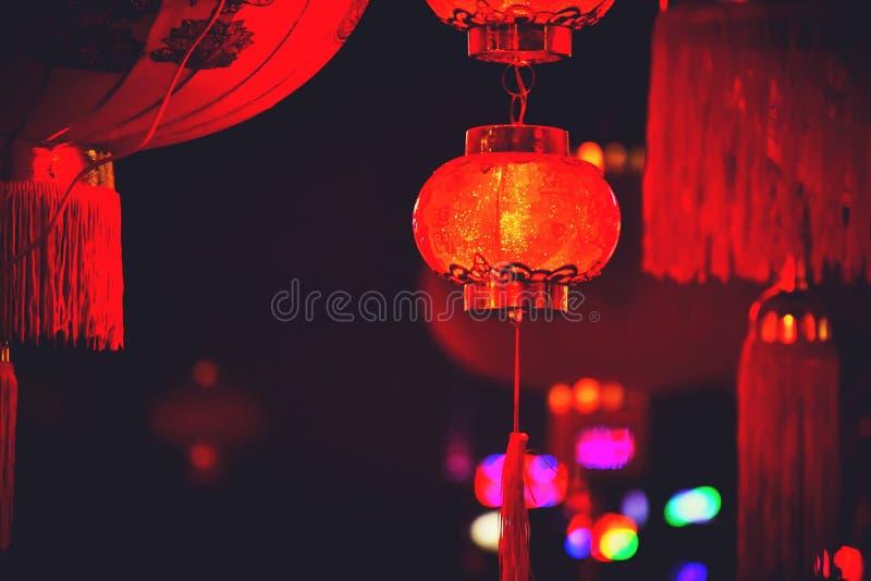 Κινεζικά φανάρια στη νύχτα στοκ φωτογραφία με δικαίωμα ελεύθερης χρήσης