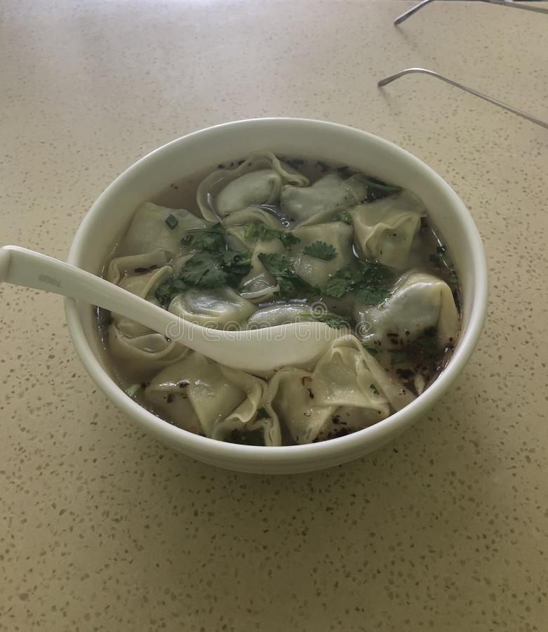 Κινεζικά χαρακτηριστικά εθνικά τρόφιμα Wontons στοκ φωτογραφίες