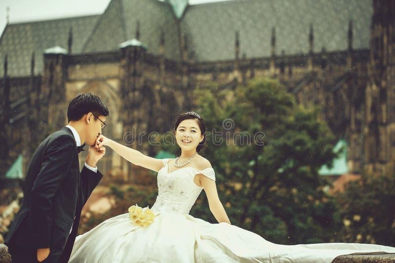 Κινεζικά χαριτωμένα νέα newlyweds υπαίθρια στοκ φωτογραφία με δικαίωμα ελεύθερης χρήσης