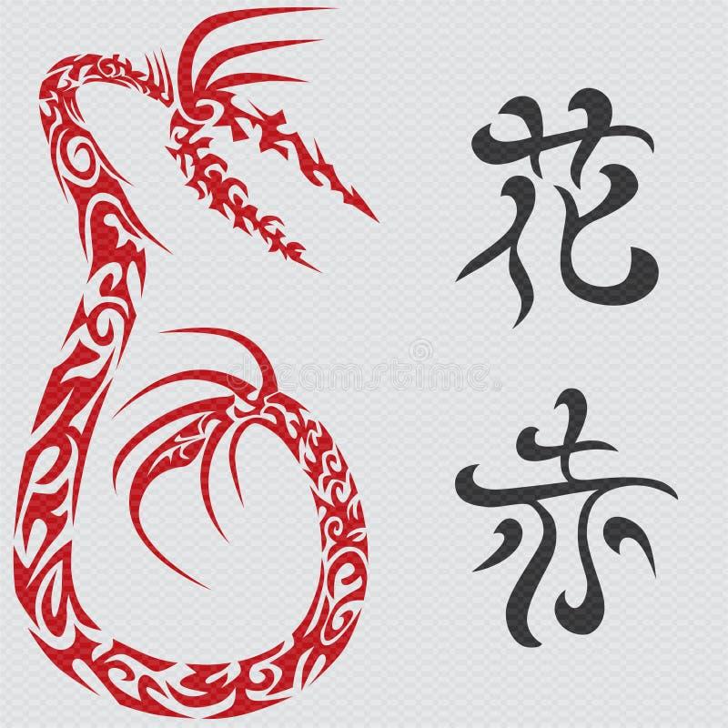 κινεζικά hieroglyphs δράκων απεικόνιση αποθεμάτων