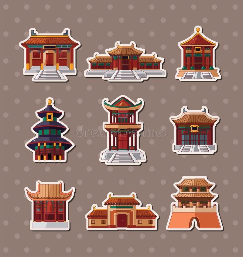 Κινεζικές αυτοκόλλητες ετικέττες σπιτιών ελεύθερη απεικόνιση δικαιώματος