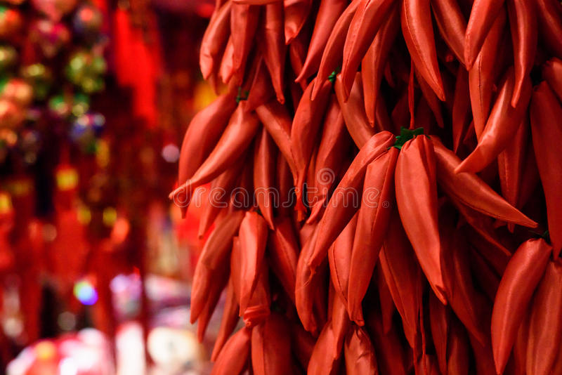 Κινεζικές διακοσμήσεις κόκκινων πιπεριών στοκ φωτογραφίες με δικαίωμα ελεύθερης χρήσης