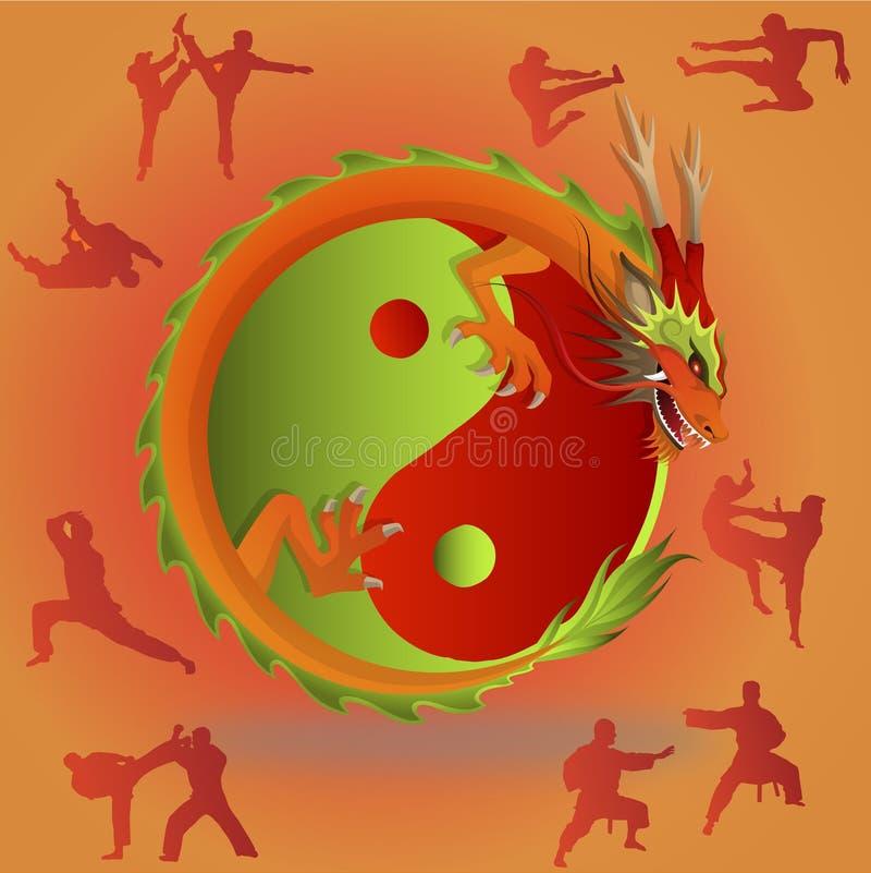 Κινεζικές πολεμικές τέχνες και tai chi ελεύθερη απεικόνιση δικαιώματος