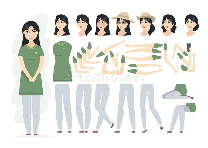 Κινεζική γυναίκα - διανυσματικός κατασκευαστής χαρακτήρα ανθρώπων κινούμενων σχεδίων διανυσματική απεικόνιση